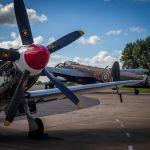 Lancaster framed by a Spitfire